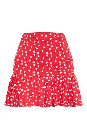 Red Polka Dot Frill Hem Mini Skirt   Skirts   PrettyLittleThing