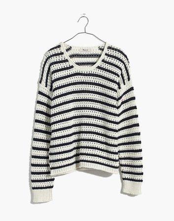 Striped Open-Stitch Austen Pullover Sweater white
