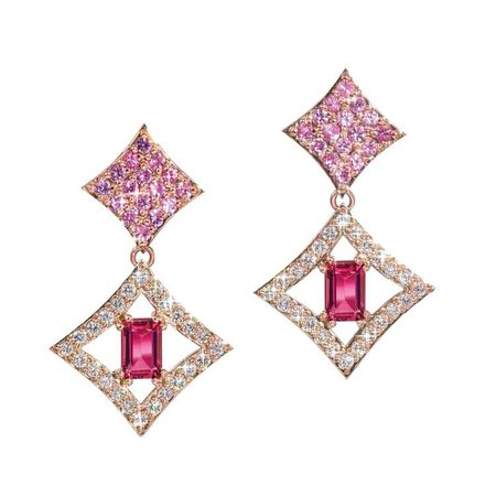 Regalo Dangle Earrings with Pink Sapphires and Tourmaline in 14k Rose Gold by GiGi Ferranti