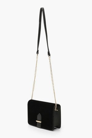 Velvet Chain & PU Strap Cross Body Bag | Boohoo black