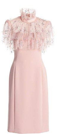 Jenny Packham Ruffled Crepe-Tulle Dress