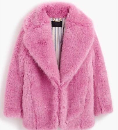 j crew pink fuzzy coat