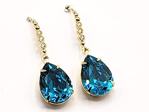 Amazon.com: Swarovski Blue Zircon Drop Earrings Vintage Teal Crystal Rhinestone Jewelry Gold Drop: Handmade