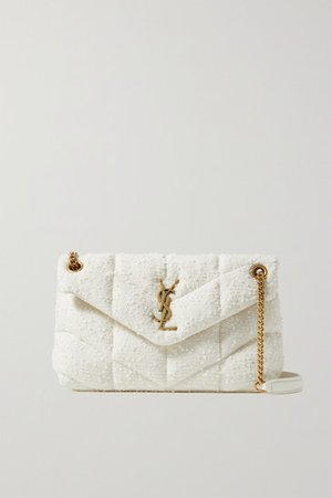 Loulou Small Leather-trimmed Quilted Boucle Shoulder Bag - White