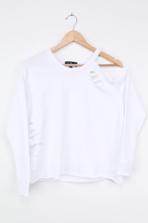 White Pullover Sweatshirt - Cutout Sweatshirt - Distressed Top