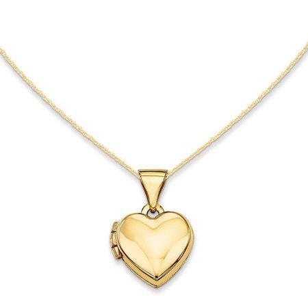 Polished Heart Locket in 14K Gold | Lockets | Necklaces | Zales