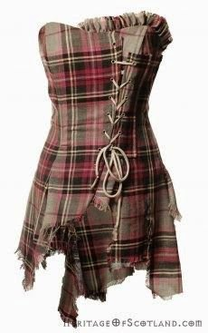 Plaid Corset Dress Shirt Red pink tan