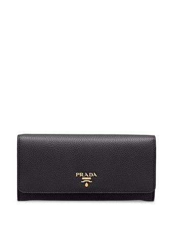 Prada Large Logo Plaque Wallet - Farfetch