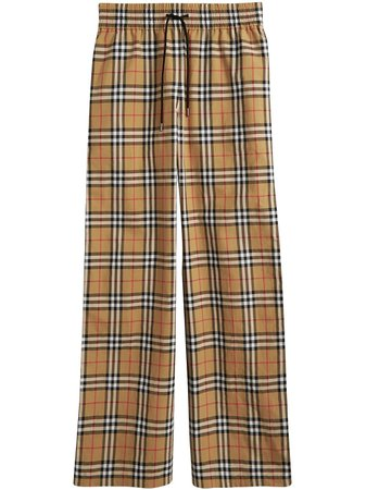 Shop multicolour Burberry Vintage Check satin trim trousers with Afterpay - Farfetch Australia