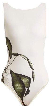 Haight - Leaf Print Boat Neck Swimsuit - Womens - White Print