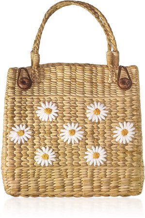 The Nines Floral-Embroidered Straw Tote