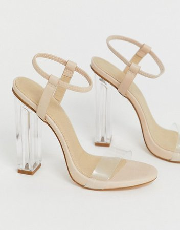 Truffle Collection clear heeled sandals | ASOS