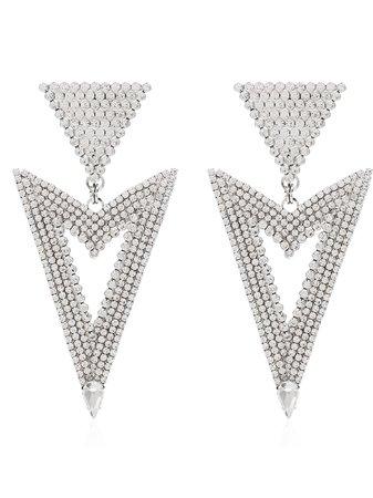 Metallic Alessandra Rich triangle cutout crystal earrings FABA2038 - Farfetch
