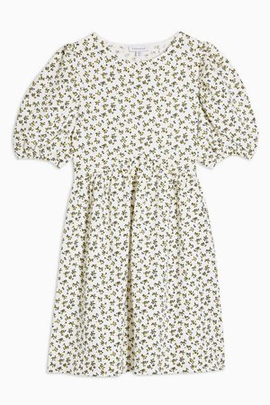 PETITE Ditsy Babydoll Puff Sleeve Dress | Topshop