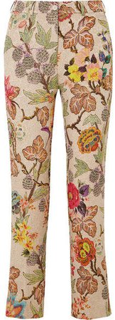 Cropped Floral Brocade Straight-leg Pants - White
