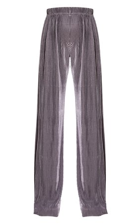 Grey Plisse Wide Leg Trousers | Co-Ords | PrettyLittleThing USA