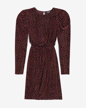 Velvet Leopard Puff Sleeve Dress | Express