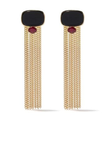 Wouters & Hendrix Gold 18kt Yellow Gold UZERAI Exclusive Blue Tiger Eye & Ruby Tassel Earrings - Farfetch