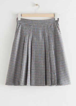 Pleated Wool Blend Mini Skirt - Blue Checks - Mini skirts - & Other Stories