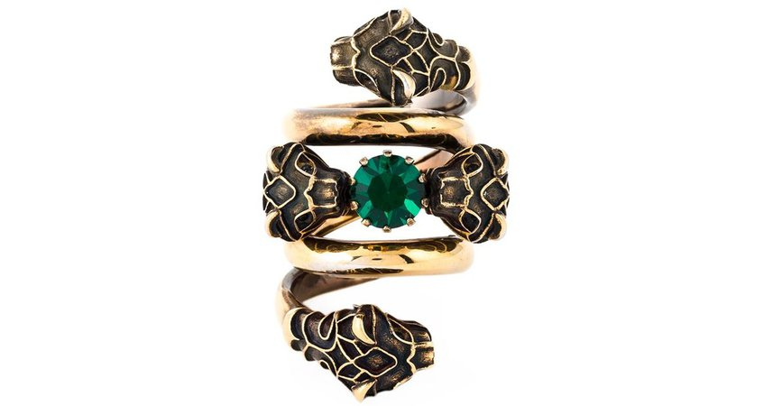 Gucci Snake Head Ring in Green