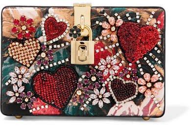 Dolce Box Embellished Floral-print Jacquard And Watersnake Shoulder Bag - Red