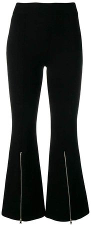 zip-detail flared trousers