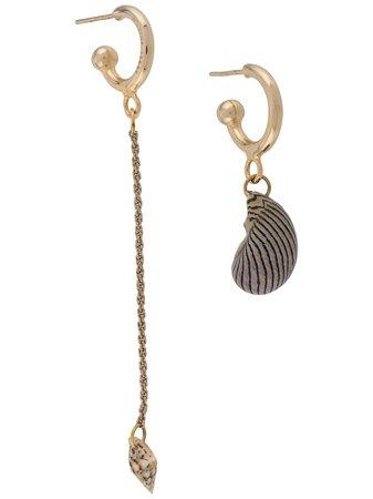 Marine Serre Asymmetric Mini Loop Earrings JWU007SS20000 Gold   Farfetch