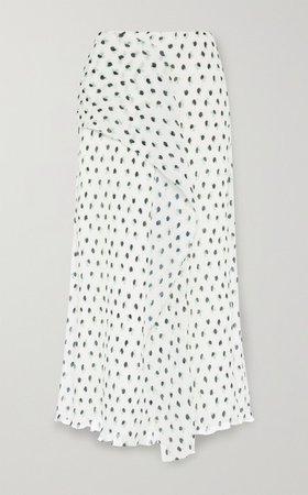Falun Draped Polka-dot Plisse-chiffon Midi Skirt - White