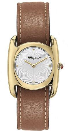 Salvatore Feragamo Vara Leather Strap Watch, 28mm x 34mm