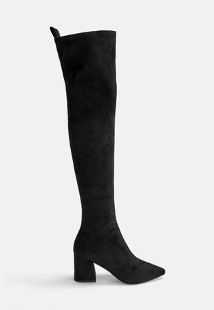 Black Mid Heel Faux Suede Over The Knee Boots | Missguided