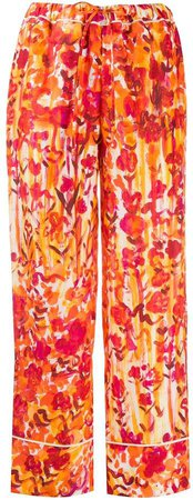 Floral-Print Drawstring Trousers