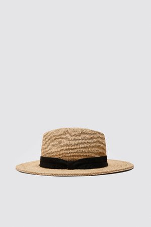 Woven hat with wide brim and matching band. | ZARA United States