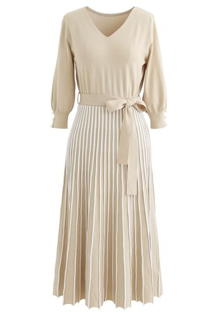 Radiant Lines V-Neck Bowknot Knit Dress in Sand - Retro, Indie and Unique Fashion