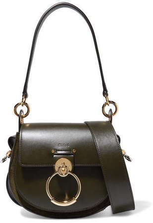 Tess Leather And Suede Shoulder Bag - Dark green