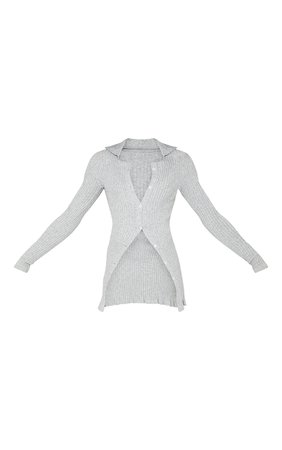 Grey Longline Ribbed Knitted Cardigan   PrettyLittleThing USA