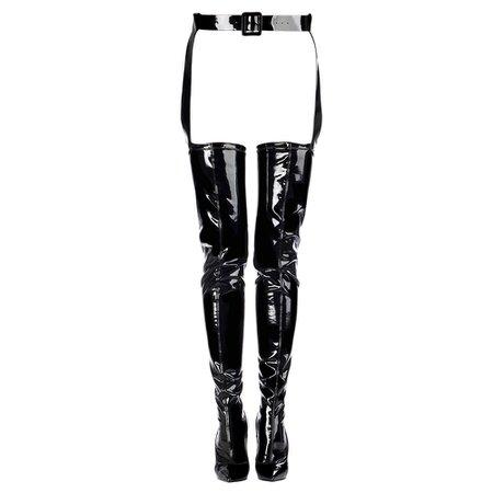 EVA KILLER BOOT 120 mm | Black vinyl over the knee boot | Le Silla