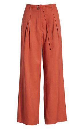 MOON RIVER Belted Pleated Wide Leg Pants   Nordstrom