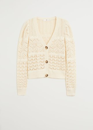 Openwork cotton cardigan - Women | Mango USA ecru