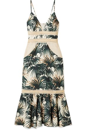 PatBO | Palm mesh and jute-trimmed printed woven midi dress | NET-A-PORTER.COM