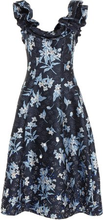 Floral-Printed Off-The-Shoulder Dress