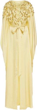 Embellished Crepe De Chine Caftan Dress