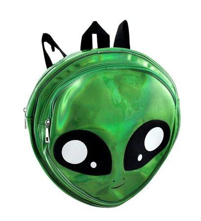 Sleepyville Critters Holographic Backpack Green Alien Head School Bag Area 51 - www.dazzlingcostumes.com
