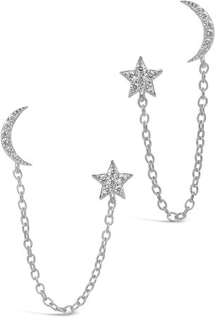 Crescent & Star Double Stud Chain Earrings
