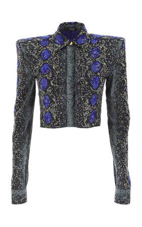 Python-Print Cotton-Silk Poplin Shirt by Versace | Moda Operandi
