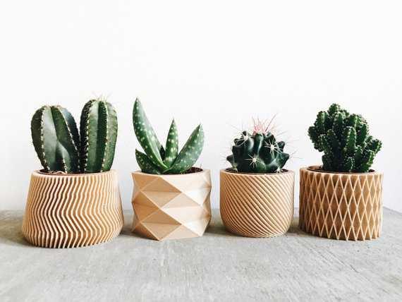 Set of 4 mini wood planters / Design hygge geometric