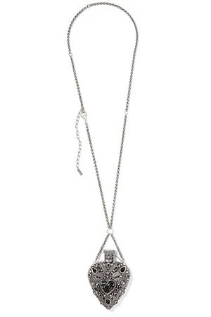Saint Laurent | Oversized silver-tone and enamel necklace | NET-A-PORTER.COM