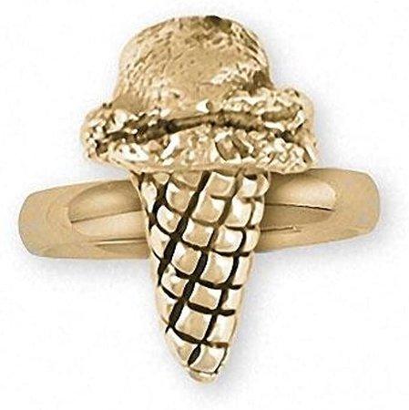 Amazon.com: Ice Cream Cone Ring Jewelry 14k Gold Handmade Ice Cream Cone Ring ICC-RG: Jewelry