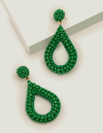 Beaded Teardrop Earrings - Rich Emerald
