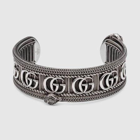 Silver Sterling Silver Silver bracelet with Double G   GUCCI® US
