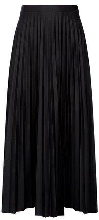 Black Jersey Pleat Midi Skirt